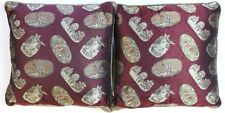 """Fab Pair of Paul Stuart 'Nursery Rhyme' Burgundy Silk Pillows"""
