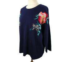 NEW £39 Per Una M&S Size 20 Navy Midnight Blue Jumper Floral Embroidery BNWT