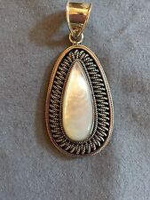 Sterling Silver Mother of Pearl Pendant With Oxidized Beaded Trim
