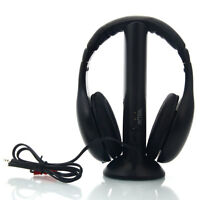 5 in 1 Wireless Headphone Black+FM Transmitter for MP3/MP4 PC TV FM Radio US 86