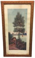 TABLEAU AQUARELLE BRETAGNE RAYMOND BLOSSIER XXème sous verre décor paysage