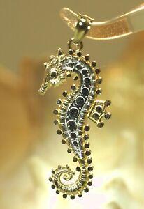 13MM 2TONE SOLID 14K YELLOW GOLD SPARKLING DIAMOND CUT HAWAIIAN SEAHORSE PENDANT