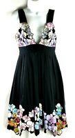 Catherine Malandrino Black Multi-Color Floral Sleeveless Strap Dress Size 2