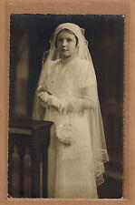 Carte Photo vintage card RPPC fille communiante religion kh0195