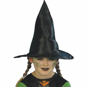 Enfant Filles Noir Brillant Déguisement Halloween Sorcière Costume Chapeau