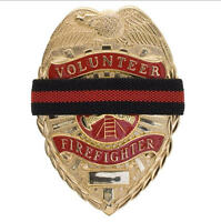 Red Line Mourning Band Memorial Badge Cover Reversible to Black