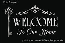Welcome Stencil Our Home French Shabby Cottage Fluer Scroll Border Victorian Key
