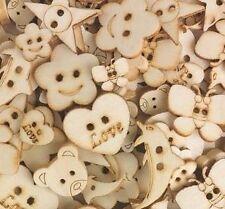 """30 Assorted Wooden Craft Buttons 1/2"""" - 1"""" Bear Heart Flower Butterfly Dolphin"""