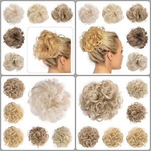 Koko Large Hair Scrunchie Wrap Curly Wavy Messy Hairpiece Blonde Shades Natural