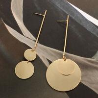Elegant Asymmetrical Geometric Round Long Dangle Ear Drop Stud Earrings Jewelry