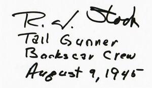 Robert J Stock Signed Index Card BAS D84056 WWII Bockscar Tail Gunner 8/9/45
