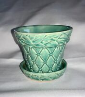 Vintage Pottery McCoy USA Flower Pot with Attached Saucer Diamond Quilted