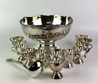 Beautiful Vintage E.P JAPAN Silver Plated Punch Bowl Set Bowl, Ladle and 12 Cups