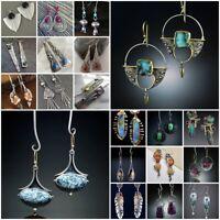 Boho 925 Silver Emerald Sapphire Ear Hook Earrings Stud Dangle Drop Jewelry Lady