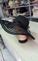 cappello nero elegante cerimonia taglia unica  paglia hat cocktail donna mar