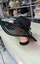 sombrero negro elegante de ceremonia talla única paja de hat cóctel mujer mar