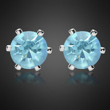Xmas Jewelry Lady Round Cut Aquamarine White Gold Plated Stud Earrings Earing
