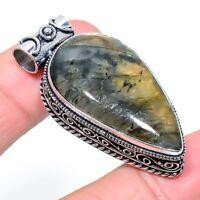 "Labradorite Gemstone Handmade Ethnic 925 Silver Jewelry Pendant 1.85"" VJ-14738"