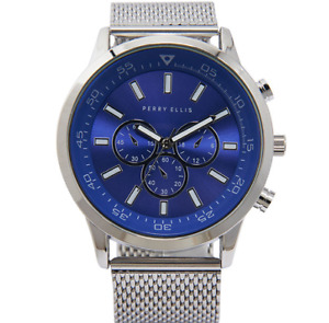 Authentic PERRY ELLIS Mesh Band Analog Men's Watch Blue $98