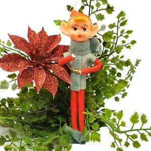 "Vintage Pointy Ear Elf Ornament 50s MCM Knee Hugger Felt Pixie Japan 5"""