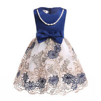 Children Girls Holiday Embroidered Pleated Dress Princess Party Dress ZG8