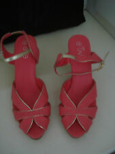 Womens Evie Cork Wedge Strappy Canvas Sandals Coral Pink Shoes 6 UK