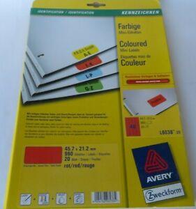20 Blatt AVERY Zweckform Universal Etiketten L6038-20 960 St. rot 45,7 x 21,2 mm