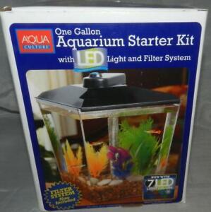 New Aqua Culture One Gallon Aquarium Starter Kit with LED Light & Filter System