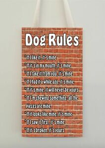 Dog Rules Funny Wall Plaque Pet Animal Lover Novelty Gift Present - Choose Breed