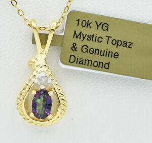 MYSTIC TOPAZ  0.78 Cts  & GENUINE DIAMOND PENDANT 10K GOLD ** New With Tag **