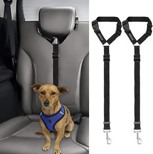 BWOGUE 2 Packs Dog Cat Safety Seat Belt Strap Car Headrest Restraint Adjustable