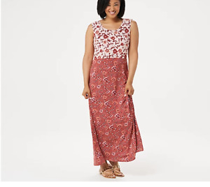Joan Rivers Petite Scoop-Neck Floral Print Maxi Dress-Terracotta-Petite Large