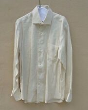 BALMAIN LIGHT BEIGE LINEN LONG SLEEVES BUTTON FRONT SHIRT Sz L 41/42