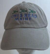Owl's Head Maine Adjustable Baseball Hat Cap Strapback Gray lobster emboidery