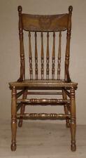 Amerikanischer Jugendstil Stuhl, Hochlehner,Eiche, Schnitzereien, Reedgeflecht