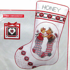 Christmas Kisses Stocking Counted Cross Stitch Kit 10 x 16 & Ornament