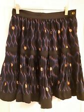 KENZO Paris X H&M Pure Silk Skirt NEW Black with Blue Red Pleats. Size 12