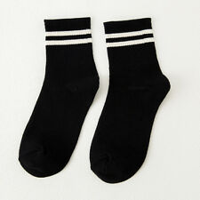 Women Girls Cotton Ankle Socks Stripes Fashion Solid Ankle-High Hosiery Simple