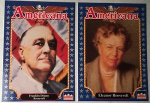 EDUCATIONAL FACTS 1992 Americana Trading Cards FRANKLIN D. & ELEANOR ROOSEVELT !