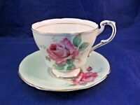 VINTAGE PARAGON TEA CUP AND SAUCER - DOUBLE WARRANT CABBAGE ROSE - PALE GREEN