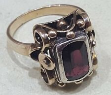 Vintage Victorian Mozambique Garnet Cocktail Ring 8K White / Yellow Gold Sz 9
