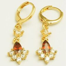 New Yellow Gold Plated Garnet Red Marquis & Clear Round CZ Dangle Drop Earrings