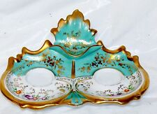Antique 19th Century German Porcelain Inkwell Ink Stand Tray Turquoise Teal Gold