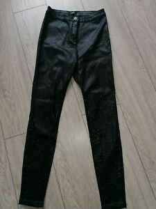 Black Sparkle Leather Look Leggings, skinny trousers Size 12