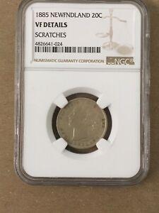 Canada Newfoundland Queen Victoria NGC VF 1885 20 Cents Scarce