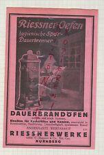 NÜRNBERG, Werbung 1925, Riessnerwerke vorm. C. Riessner & Co. AG Dauerbrandöfen