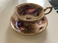 RARE AYNSLEY SIGNED FRUIT PATTERN MINT CONDITION TEA CUP + SAUCER UNUSED