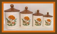 Vintage 1982 Sears Roebuck Merry Mushroom 4 Piece Canister Set-Retro Kitchenware