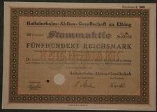 Haffuferbahn-Aktien-Gesellschaft zu Elbing Stammaktie 1924 500 RM