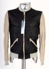 Dolce & Gabbana Brown & Black Leather & Linen Jacket EU44 XS RRP £595 coat